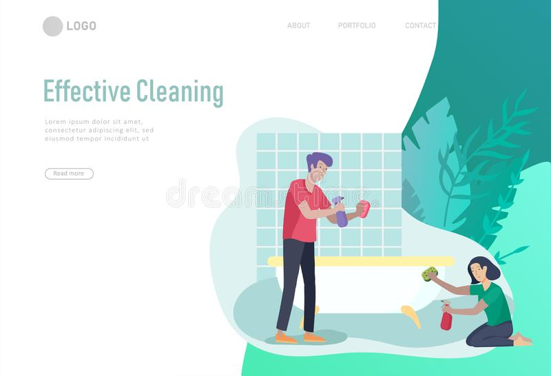 Landing page template people home cleaning, couple man and woman cleaning bathroom, carpet and floor, wipe dust. Vector. Illustration cartoon style vector illustration