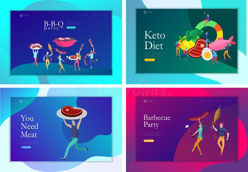 Landing page template people preparing barbecue. BBQ party. People grilling meat. Keto diet Cartoon people characters. Concept with low carb diet chart. Healthy royalty free illustration