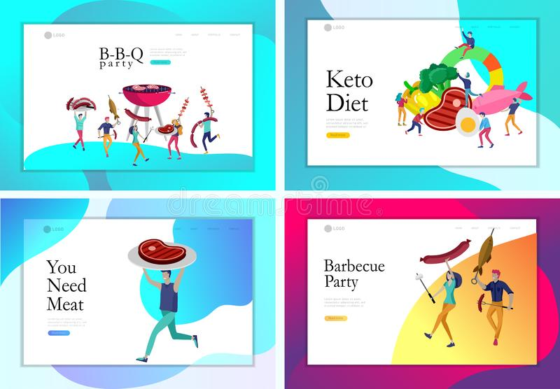 Landing page template people preparing barbecue. BBQ party. People grilling meat. Keto diet Cartoon people characters. Concept with low carb diet chart. Healthy vector illustration