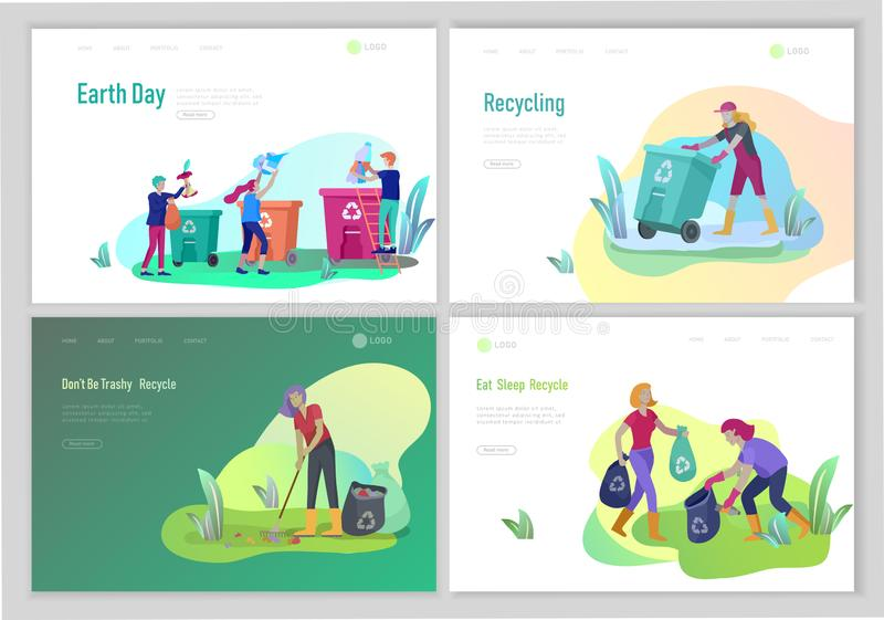 Landing page template with people Recycle Sort Garbage in different container for Separation to Reduce Environment stock illustration