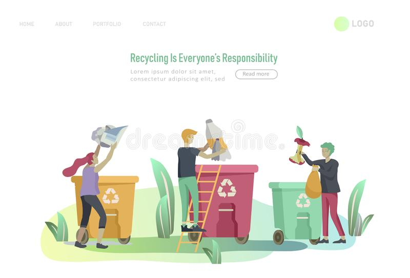 Landing page template with people Recycle Sort Garbage in different container for Separation to Reduce Environment vector illustration