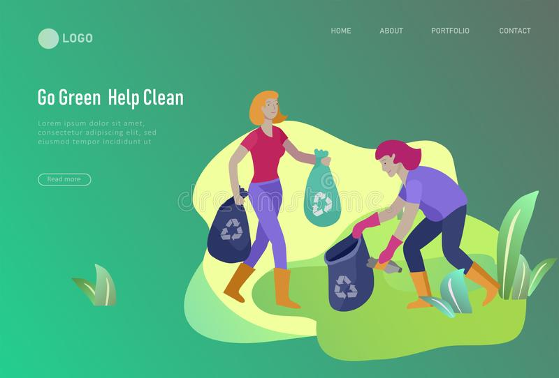 Landing page template with people Recycle Sort Garbage in different container for Separation to Reduce Environment royalty free illustration