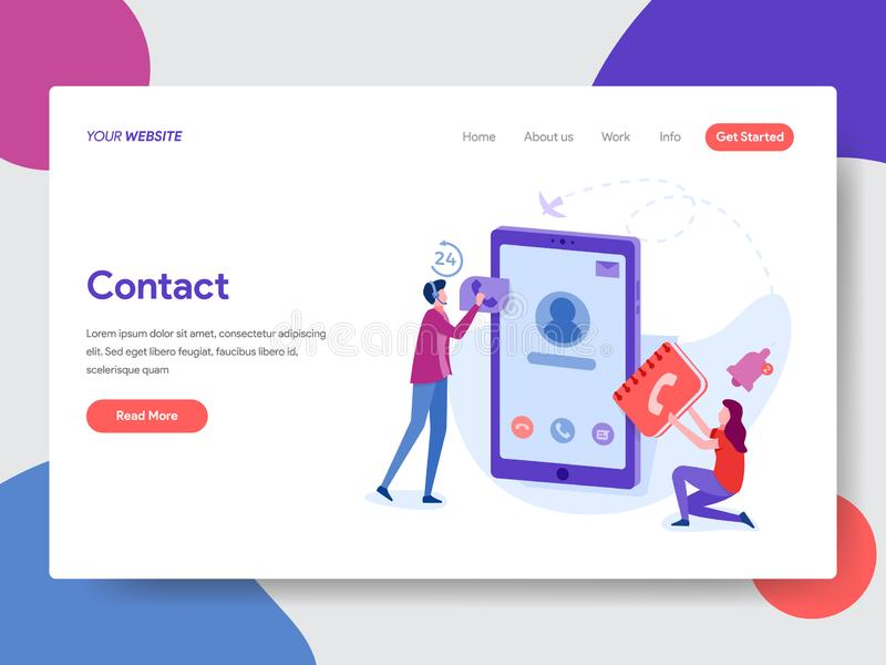 Landing page template of Phone Contacts Illustration. Modern flat design concept of web page design for website and mobile website royalty free illustration