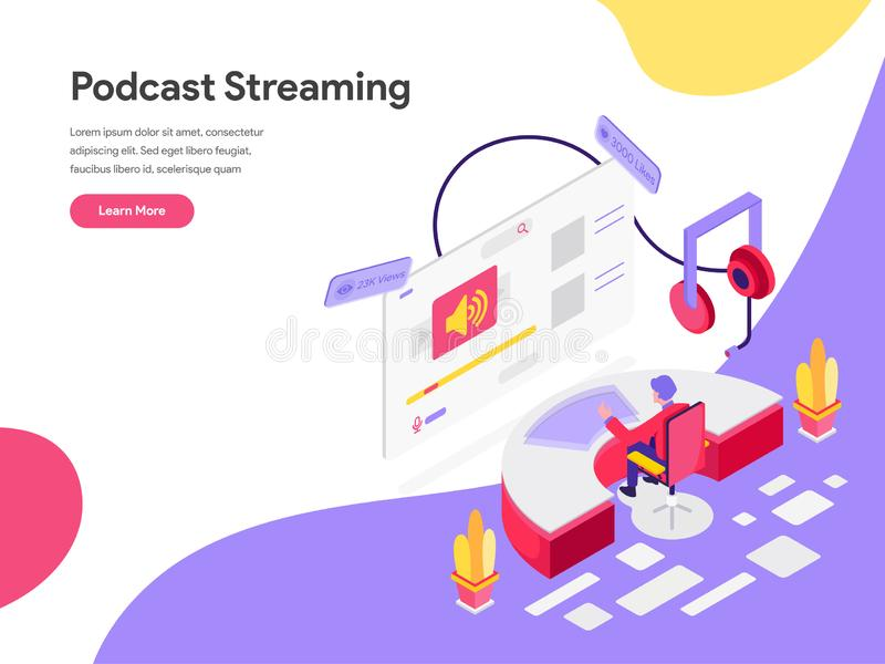 Landing page template of Podcast Streaming Isometric Illustration Concept. Isometric flat design concept of web page design for royalty free illustration