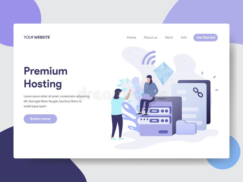 Landing page template of Premium Hosting Illustration Concept. Modern flat design concept of web page design for website and royalty free illustration