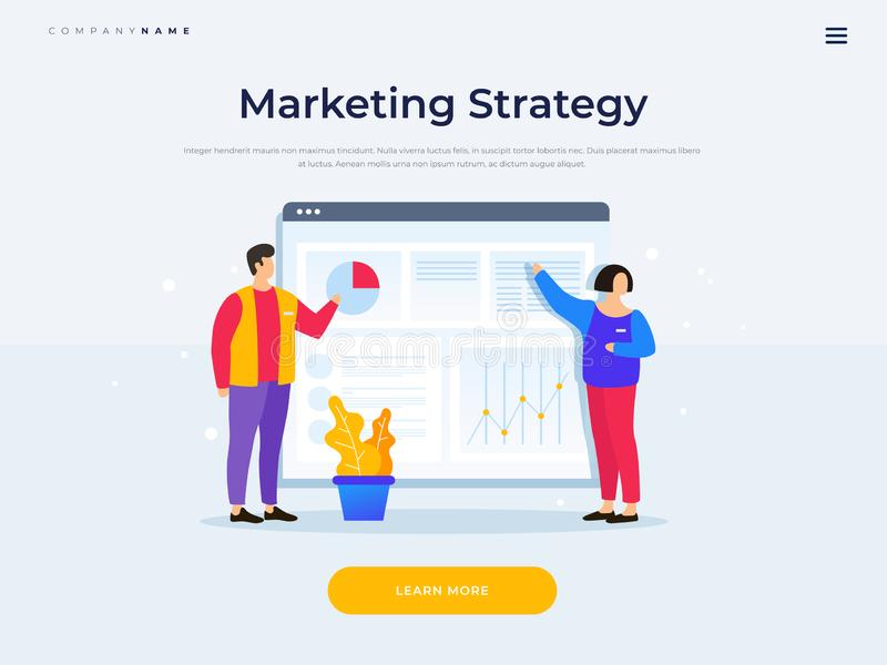 Landing page template. Presentation of project. Teamwork. Cartoon man and woman are standing in front of browser window with diagrams and growth charts. Vector vector illustration