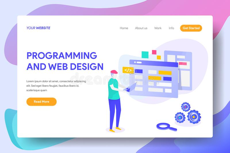PROGRAMMING AND WEB DESIGN. Landing page template of PROGRAMMING AND WEB DESIGN Concept. Modern illustration flat design concept of web page design for website stock illustration