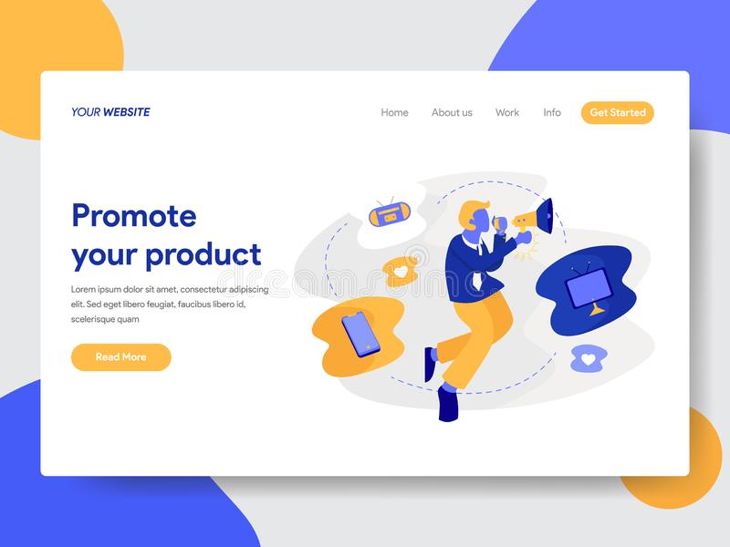 Landing page template of Promoting Product Concept. Modern flat design concept of web page design for website and mobile website. vector illustration