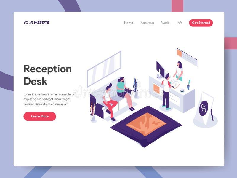 Landing page template of Reception Desk Illustration Concept. Isometric design concept of web page design for website and mobile vector illustration