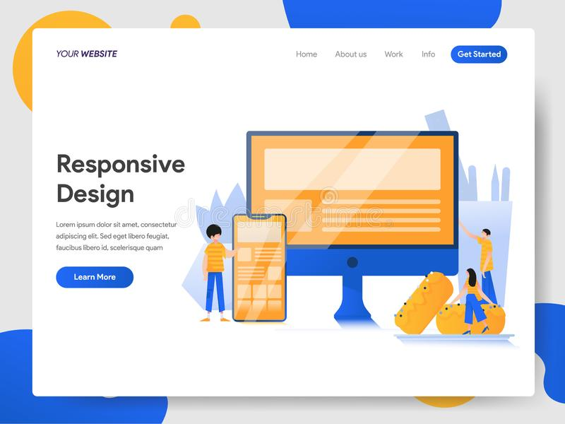 Landing page template of Responsive Design Illustration Concept. Modern design concept of web page design for website and mobile stock illustration