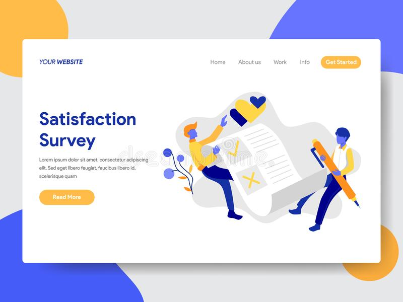 Landing page template of Satisfaction Survey Concept. Modern flat design concept of web page design for website and mobile website royalty free illustration