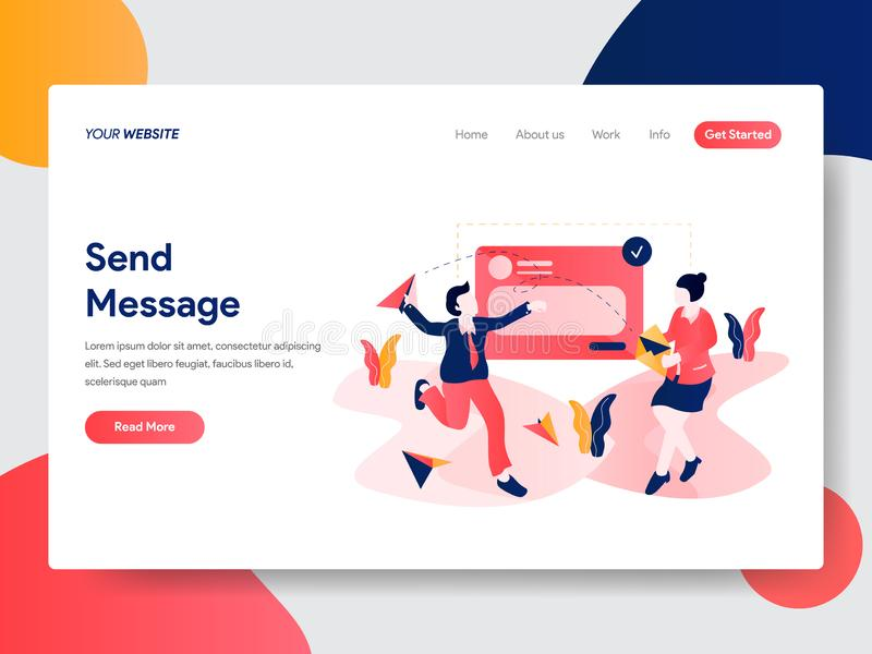 Landing page template of Send Message Concept. Modern flat design concept of web page design for website and mobile website.Vector. Illustration stock illustration