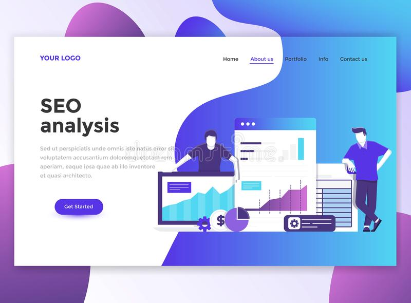 Flat Modern Design Of Wesite Template Seo Stock Vector - Seo landing page template