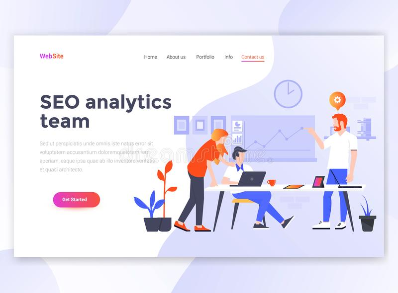 Flat Modern design of wesite template - Seo Analytics team vector illustration