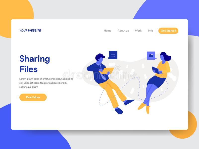 Landing page template of Sharing Files and Documents Illustration Concept. Modern flat design concept of web page design for. Website and mobile website.Vector stock illustration