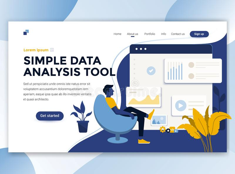 Flat Modern design of wesite template - Simple Data analysis too royalty free illustration