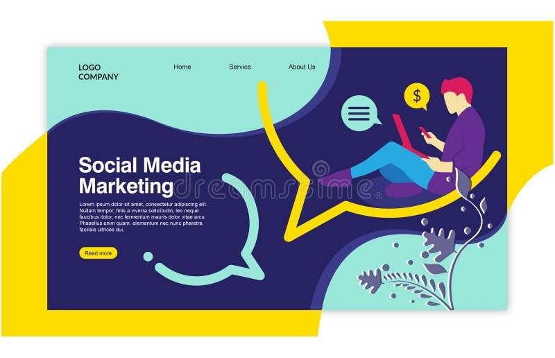 Landing page template of Social media marketing. stock illustration