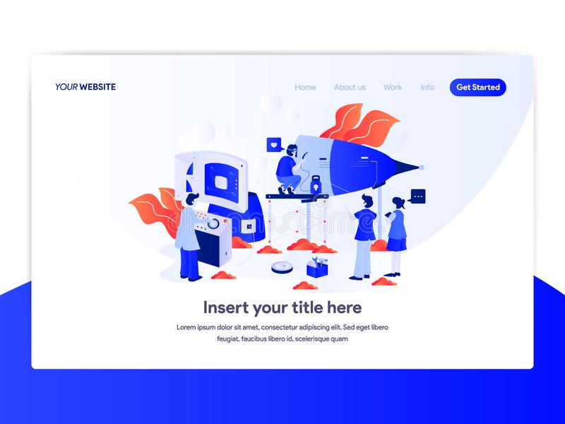 Landing page template of Startup Business Concept. Modern flat design concept of web page design for website and mobile website. Vector illustration royalty free illustration