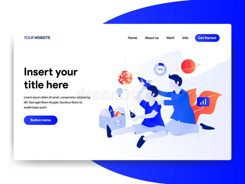 Landing page template of Startup Business Concept. Modern flat design concept of web page design for website and mobile website. Vector illustration stock illustration