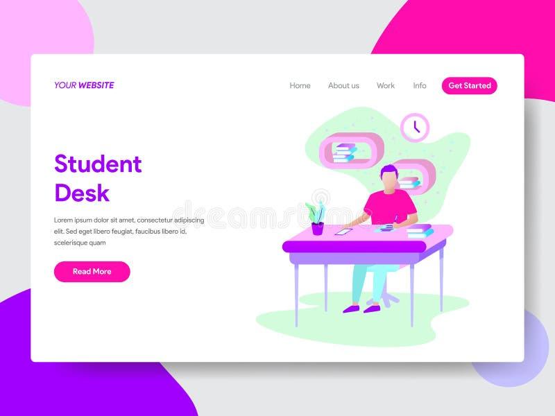 Landing page template of Student Learning on Desk illustration Concept. Modern flat design concept of web page design stock illustration