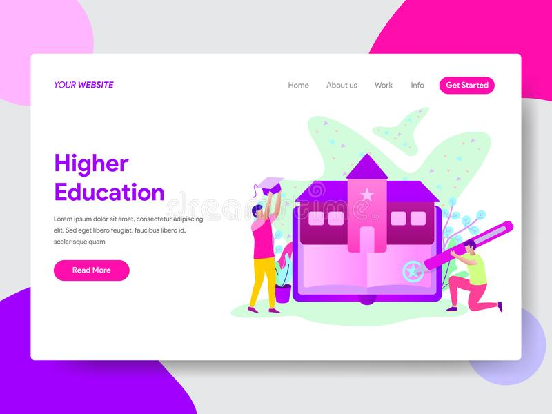 Landing page template of Student with University Education Illustration Concept. Modern flat design concept of web page design for vector illustration