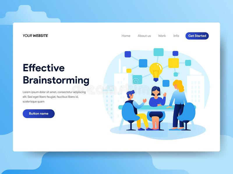 Landing page template of Teamwork and Brainstorming Concept. Modern flat design concept of web page design for website and mobile. Website.Vector illustration royalty free illustration