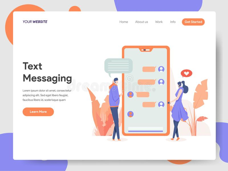 Landing page template of Text Messaging Illustration Concept. Modern design concept of web page design for website and mobile. Website.Vector illustration EPS vector illustration