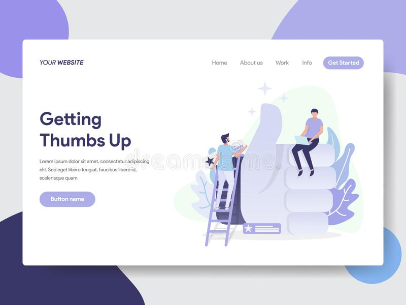 Landing page template of Thumbs Up Illustration Concept. Modern flat design concept of web page design for website and mobile royalty free illustration