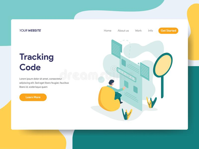 Landing page template of Tracking Code Illustration Concept. Modern flat design concept of web page design for website and mobile stock illustration