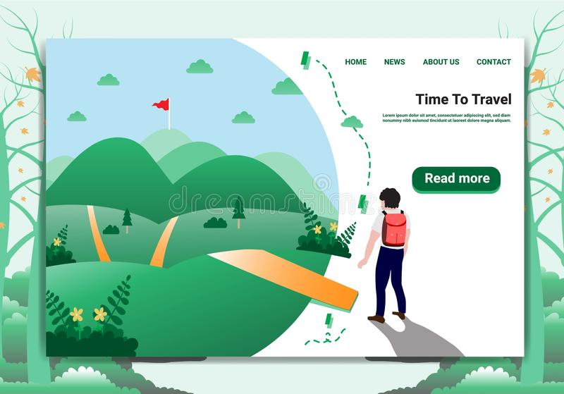 Landing page template Travel Concept A Men who are walking into the forest to aim for a holiday. vector illustration