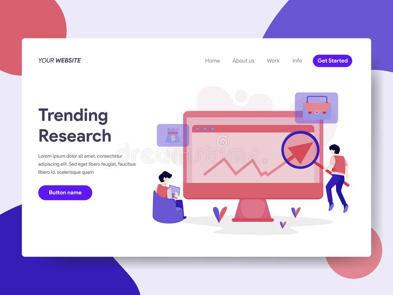 Landing page template of Trending Keyword Research Illustration Concept. Isometric flat design concept of web page design for vector illustration