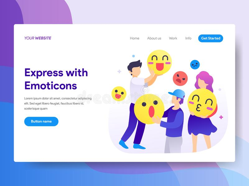 Landing page template of Using Emoticons Concept. Modern flat design concept of web page design for website and mobile website.Vec. Tor illustration stock illustration