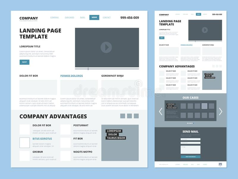 Landing page template. Website layout design elements footer header menu navigation wireframe for internet pages vector royalty free illustration