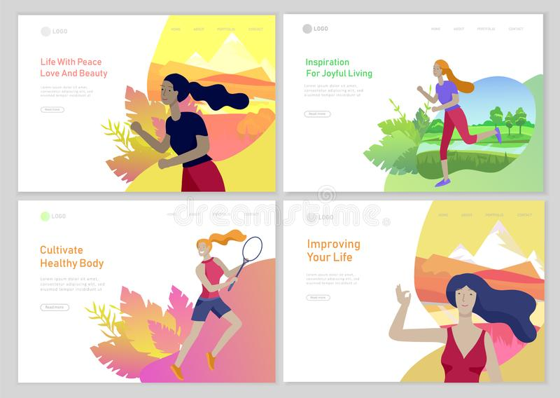 Landing page template with woman healty life style concept. Girl outdoor activities, running, play tennis, doing yoga stock illustration