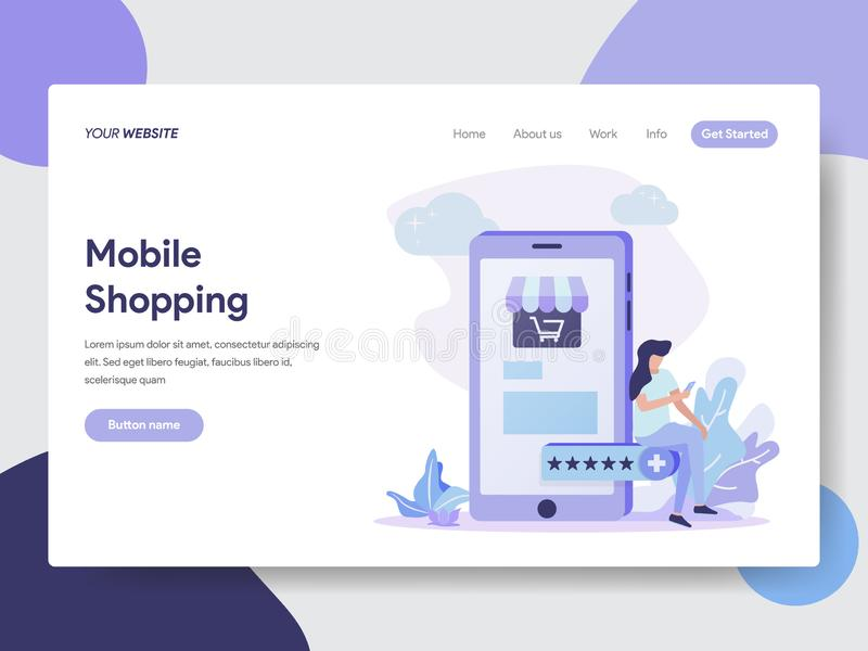 Landing page template of Woman on Mobile doing Online Shopping illustration Concept. Modern flat design concept of web page design vector illustration