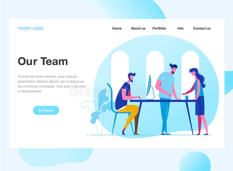 Landing page template of Work Team. Discussion of the company`s business strategy. Modern flat design concept of web. Page design for website and mobile website vector illustration