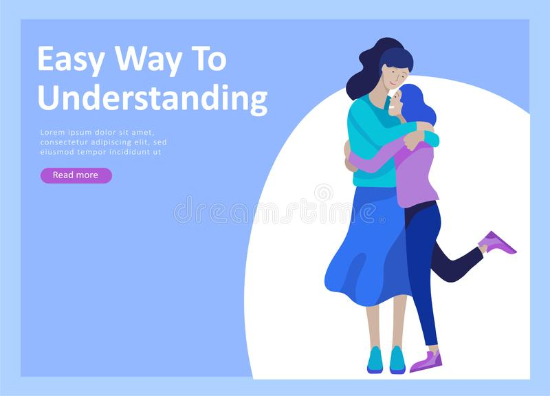 Landing page templates for positive psychology, group family psychotherapy. Happy friends character have positive. Emotions, way to happiness and happy life stock illustration