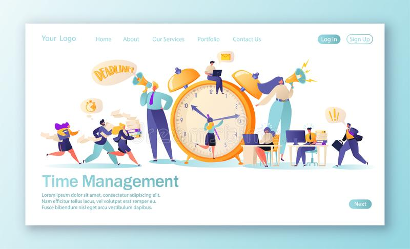 Concept of landing page on time management theme. Template for website or web page with office workers and business people working. Overtime.  Time management royalty free illustration