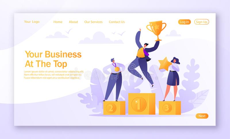 Concept of landing page on teamwork, career, rich goal success achievement theme with successful flat business people characters. Vector illustration for royalty free illustration