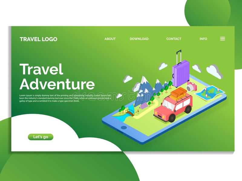 Landing Page Travel adventur. Web Template design. vector royalty free stock image