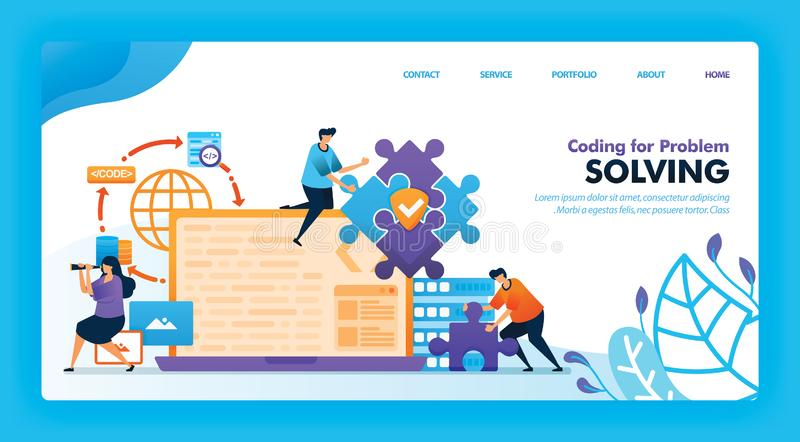 Landing page vector design of Coding for Problem Solving. Easy to edit and customize. Modern flat design concept of web page, webs vector illustration