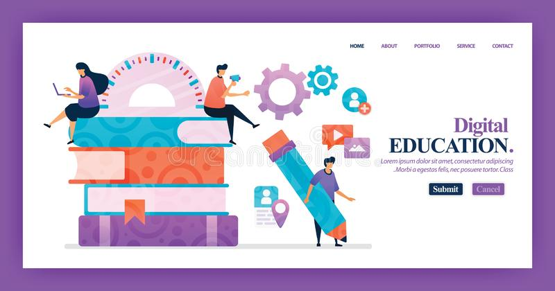 Landing page vector design of Digital education. Easy to edit and customize. Modern flat design concept of web page, website, home stock illustration