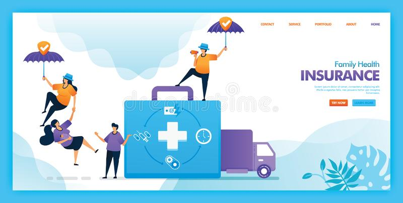 Landing page vector design of Family health insurance. Easy to edit and customize. Modern flat design concept of web page, website royalty free illustration