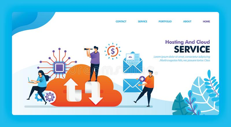 Landing page vector design of Hosting and Cloud. Easy to edit and customize. Modern flat design concept of web page, website, home. Page, mobile apps UI stock illustration