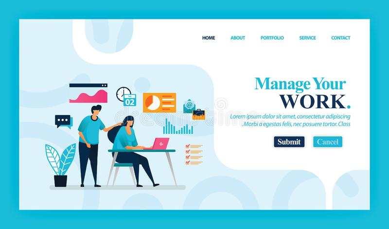 Landing page vector design of Manage Your Work. Easy to edit and customize. Modern flat design concept of web page, website, homep. Age, mobile apps, UI stock illustration