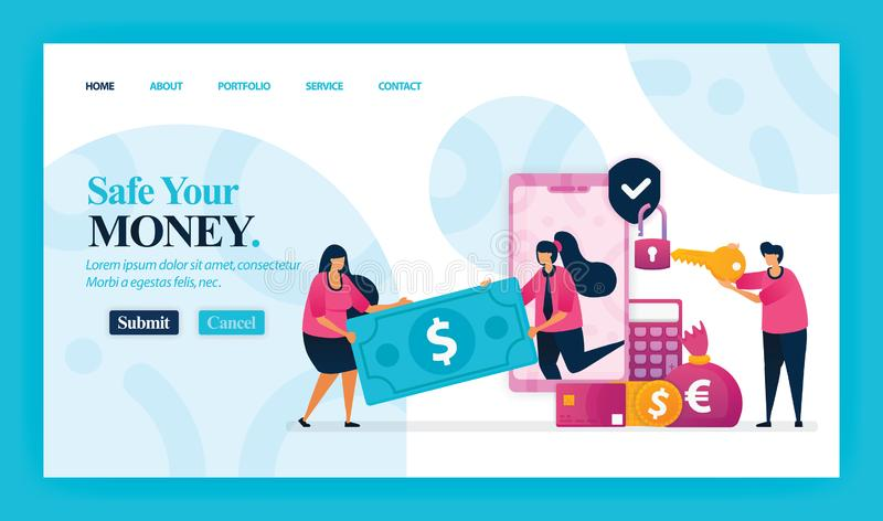 Landing page vector design of Safe Your Money. Easy to edit and customize. Modern flat design concept of web page, website, homepa stock illustration
