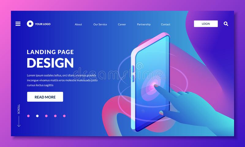 Landing page, web banner design layout. Human finger touches phone screen, vector 3d isometric illustration. Mobile interface development and digital royalty free illustration