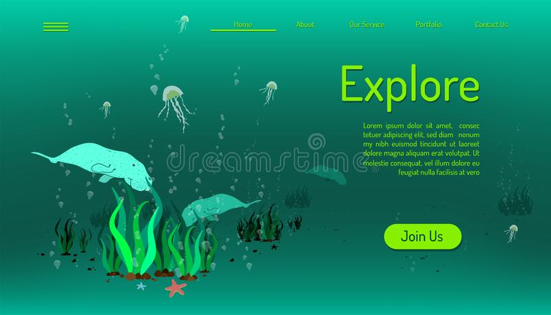 Landing page website template. explore ocean life. time to travel. green tone background. vector illustration eps10 royalty free illustration