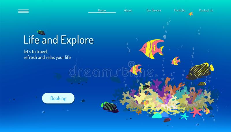 Landing page website template. life and explore. let`s to travel refresh and relax your mind. blue tone background. vector vector illustration