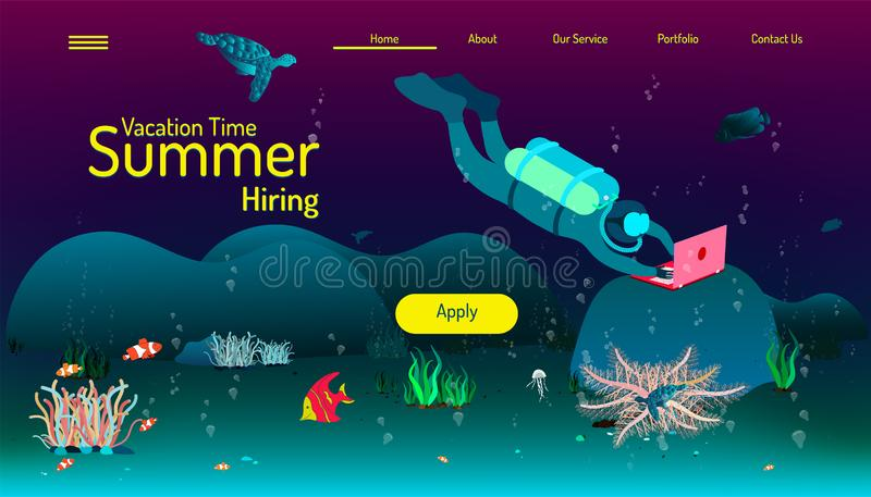 Landing page website template. summer vacation time. we hiring apply your job. play fun pay money. beautyful design.  vector illustration